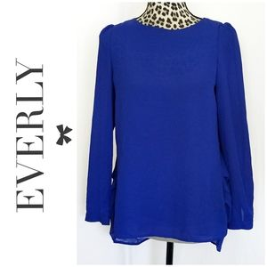 🎀 3/$25 Everly Royal Blue Semi-sheer Blouse
